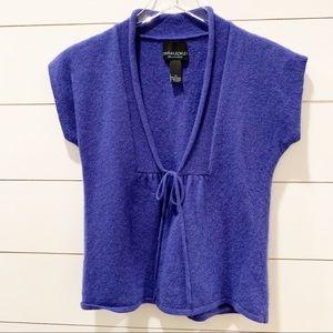 CYNTHIA ROWLEY Purple Cashmere Tie Front Vest